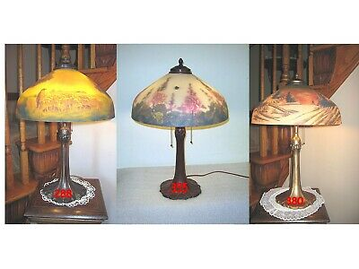 Antique Pittsburgh Reverse And Obverse Painted Lamp - Signed