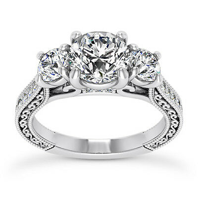 Pave Three Stone 2.65 Ct Round Cut Diamond Engagement Ring White Gold VS2 H