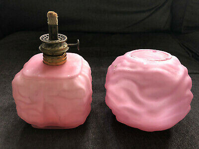 Vintage MINIATURE OIL LAMP Pink Glass Quilted Satin VICTORIAN GLASS early