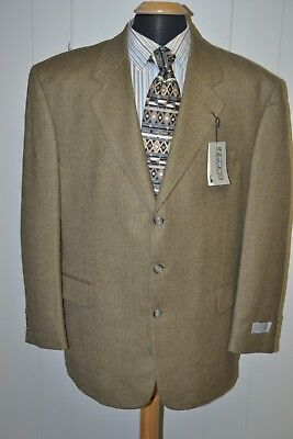 NWT Gianfranco Ruffini Men's Herringbone Brown Wool 3 Front Buttons Blazer Sz 48