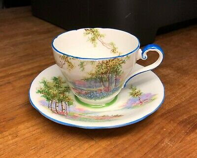 Vintage Aynsley England Bone China Tea Cup & Saucer Scenic River & Trees Design