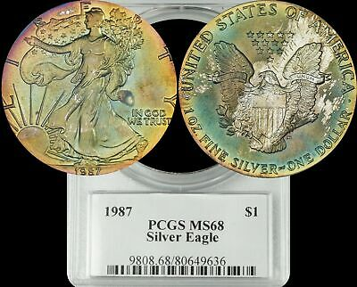 1987 American Silver Eagle PCGS MS68 Turquoise and Yellow Toned with Dark Purple