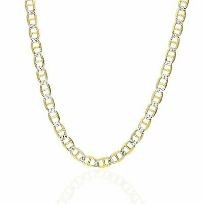 14K Yellow Gold Over Sterling Silver 5mm Diamond Cut Mariner Anchor Link Chain