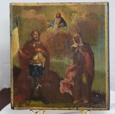 ANTIQUE RUSSIAN ORTHODOX HAND PAINTED ON WOOD ICON PROVENANCE St Andrew Mary