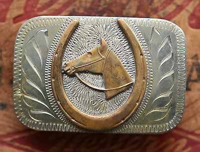Vintage Hand Made Engraved Horse Head Lucky Horseshoe Western Cowboy Belt Buckle
