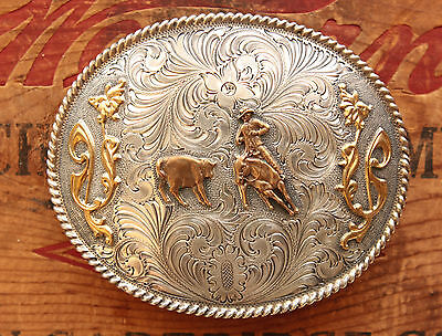 Vintage Wage Sterling Silver Cowboy Horse Rodeo Calf Roping Western Belt Buckle