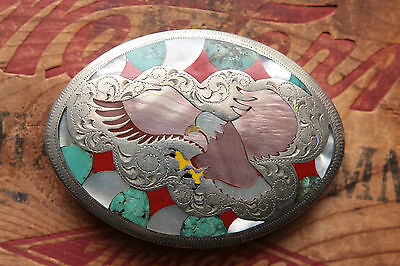 Vintage Hand Made Turquoise Coral Abalone Inlay Flying Eagle Western Belt Buckle