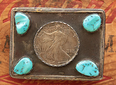 Vintage Hand Made Sterling Silver Liberty Dollar Turquoise Western Belt Buckle