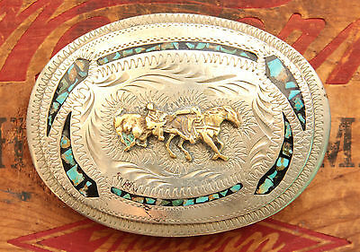 Vtg Handmade Turquoise Inlay Cowboy Horse Rodeo Bull Dogging Western Belt Buckle