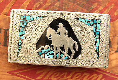 Vintage Hand Made Turquoise Inlay Cowboy Horse Rodeo Western Belt Buckle
