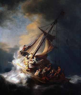 """''Christ in the Storm on the Lake of Galilee'' Art Print 8""""x 10"""" Christian 12"""