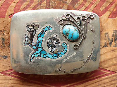 Vintage Hand Made Turquoise Abalone Inlay Western Belt Buckle