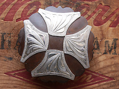 Vintage Hand Made Engraved Iron Maltese Cross Overlay Western Concho