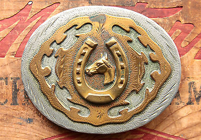 Vintage Western Flair Hand Made Cowboy Horse Lucky Horseshoe Western Belt Buckle