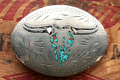Vintage Hand Made Coral Turquoise Abalone Inlay Bull Skull Western Belt Buckle