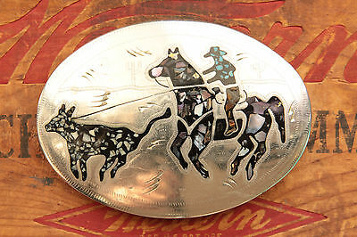 Vintage Hand Made Abalone Turquoise Inlay Cowboy Horse Rodeo Western Belt Buckle