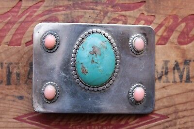 Vintage Sterling Silver Turquoise Hand Made Western Belt Buckle