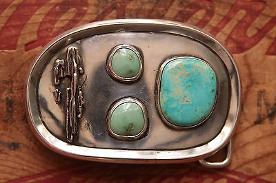 Vintage Hand Made Sterling Silver Native American Style Turquoise Belt Buckle