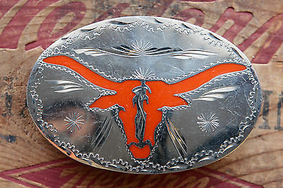Vintage Hand Made Longhorn Steer Red Inlay Western Cowboy Belt Buckle