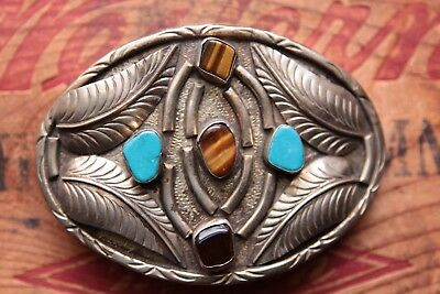 Vintage Hand Made Turquoise Tiger Eye Western Belt Buckle