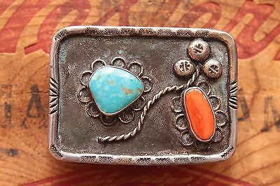 Vintage Hand Made Sterling Silver Native American Turquoise Coral Belt Buckle