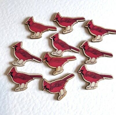 Pack of 20 Wooden Red Cardinal Bird Flatback Embellishments. CLEARANCE SALE