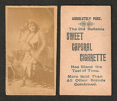 N245 Sweet Caporal Cigarette Tobacco Card - Lillian Russell - Rare Inverted Back