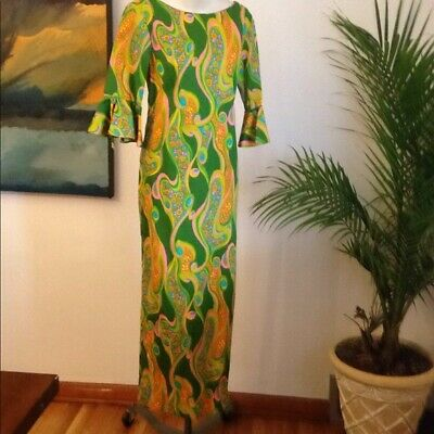 40653e10238a Vintage Alfred Shaheen DRESS Hawaii 1960s Size 10 Funky 1970s Paisley  bombshell