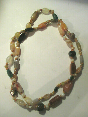 "ANTIQUE VINTAGE  48"" Chinese export Bead Blood jade,Agate,Carnelian Necklace"