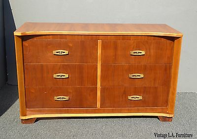 Vintage Mid Century Modern Curved Front Six Drawer Dresser with Brass Hardware