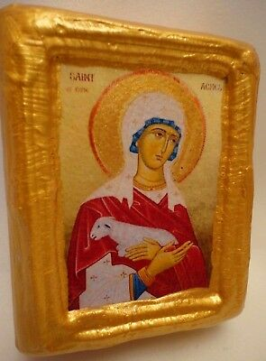 Saint Agnes Ines Old World Catholic & Byzantine Orthodox Religious Icon on Wood