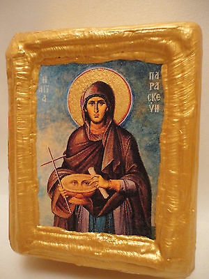 Saint Parascheva Paraskevi Byzantine Greek Orthodox Religious Icon Wood Block
