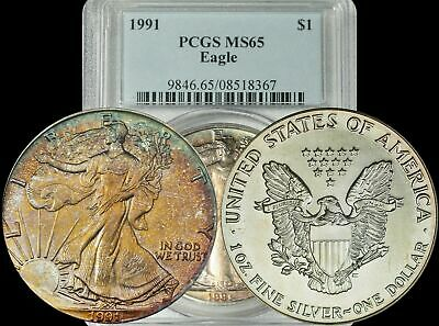 1991 American Silver Eagle ASE PCGS MS65 Turquoise/Yellow/Maroon Toned Gem
