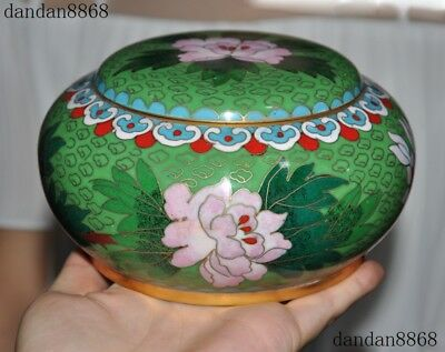 Old Chinese dynasty bronze Cloisonne bird peony flower rouge Box Boxes statue