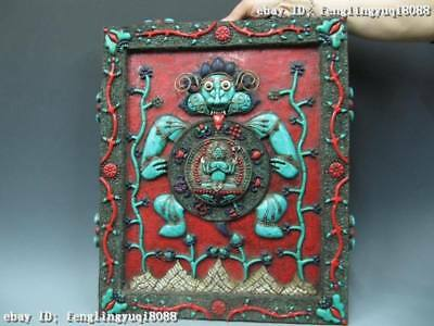 22 Tibet temple Pure Copper Handwork inlay turquoise Red coral Buddhism TangKa
