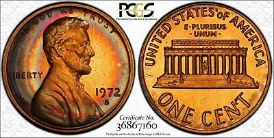 1972-S Lincoln Memorial 1 Penny PCGS PR66RB Color Toned Coin In High Grade