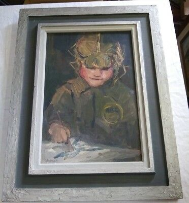 Vintage Oil on Board Portrait by Storck 19 1/2 x 25 of a Child Painting