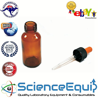 AMBER GLASS DROPPING BOTTLE, PLASTIC SCREW CAP & PIPETTE 60ml, 1/5/10/50 pcs