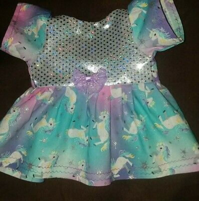 """Fits 14"""" 15"""" Bitty Baby Twin doll clothes SILVER UNICORNS dress diaper 2 pc set"""