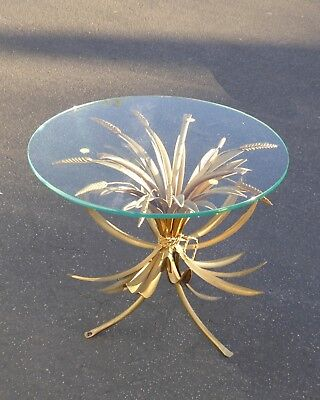 Vintage French Provincial Country Wheat Sheaf Side End Table Made in Italy