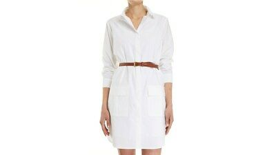 SABA Classic White Cotton Poplin Shirt Dress with Pockets RRP$179