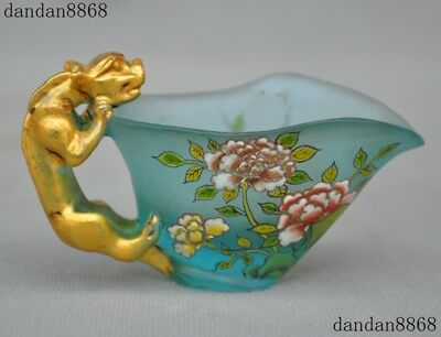 Old Chinese glass Painted gilt beast peony flower bird statue wineglass Wine cup