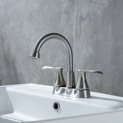 """HOMELODY Brushed Nickel 4"""" Centerset Bathroom Sink Faucet Tap W/ Pop Up Drain"""