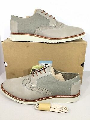 9462bc62992 TOMS Brogue Men s Sz 13 Taupe Leather Washed Canvas Oxfords Casual Shoes  X17-391