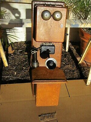 Antique Vintage Stromberg-Carlson Oak Wood Double Box Wall Crank Telephone Parts