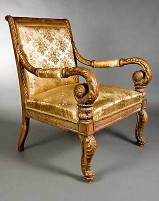 Royal Armchair with Carvings in the Antique Empire Style