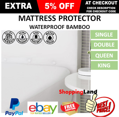 LUXURY BAMBOO WATERPROOF Mattress Matress Bed Protector Single King Queen Double