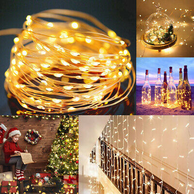 LED Solar Battery UK Plug Fairy String Lights Micro Rice Copper Wire Lamp Lot