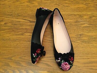 cada71fb91bc Kate Spade Ny Wilton Suede leather Floral Embroidered Flat Shoes New Size 8