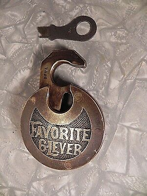 Vintage Solid Brass Padlock, Favorite 6 Lever With Original Key